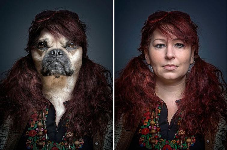 Необычный фотопроект Себастьяна Маньяни: собаки в шкуре хозяев